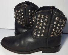 Frye 76684 Wyatt Disc Black Leather Studded Western Cowgirl Boots Women Size 8.5