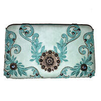 New Style Rhinestone Concho Embroidered Leather Clip Wallet in Beige.
