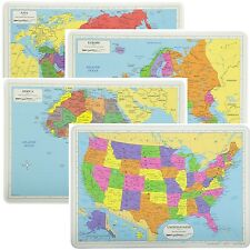 Painless Learning Educational Placemats Sets USA Africa Asia and Europe Maps