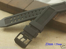 23mm Rubber.Silicon Band Strap bracelet BLACK buckle 7251 3050 3051 6402 watch
