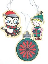 CHRISTMAS ORNAMENTS WOOD HAND PAINTED 3 PC SET 1 ELF 1 OWL 1 ROUND LIGHT WEIGHT