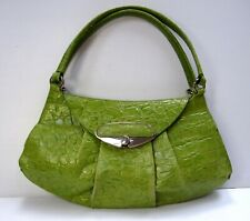 Furla Shoulder bagl Handbag Purse Solid Lime Green Leather Silver Hardware bb3