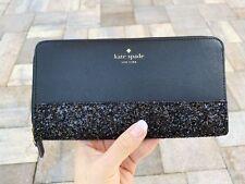 Kate Spade Greta Court Neda Zip Around Continental Wallet Glitter Black