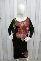 Vestito DESIGUAL Donna Taglia L Verde Multicolore Abito Dress Tubino Robe Kleid