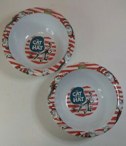 """Lot of 2 Dr Seuss The Cat In the Hat 6 1/4""""  Bowl Kraft Macaroni & Cheese Bowls"""