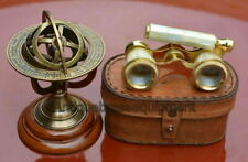 "BRASS 3.75"" MOTHER OF PEARL BINOCULAR WITH LEATHER BOX W/ 4.5"" BRASS ARMILLARY"