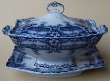 ANTIQUE FLOW BLUE FORD & SONS RICHMOND SAUCE TUREEN EDWARDIAN 1900-1910