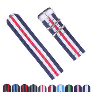 New 18mm 20mm 22mm 24mm Stripes CamboS Nylon Watch Strap Band Watchband Buckle