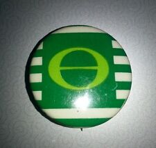 "Vintage c1980 Green Ecology Symbol on White/Green Stripe 1"" Pinback -Used"