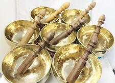 "F257 Set Of All 7 Chakra Healing Hand Hammered Tibetan Singing Bowl 5"" MI Nepal"