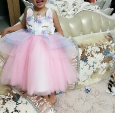UK Girls Unicorn Boutique Dress Party Disco Prom Wedding Princess Dress 2-10
