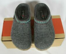 Haflinger Womens GRIZZLY Light Gray Wool Clogs Slippers Sz 40 / US 9.5 10