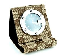 d84127a2483b Authentic GUCCI GG Canvas   Brown Leather Alarm Travel Table Clock Made  Swiss