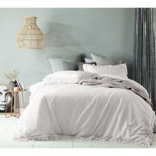 Queen Bed Maison Linen Cotton Doona Quilt Cover Set White