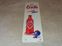 "VINTAGE 1949 ORANGE CRUSH & CRUSHY SODA BOTTLE 10"" X 3"" METAL GAS & OIL POP SIGN"