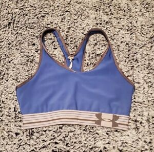 Womens Under Armour Heat Gear Sports Bra Size Small Blue With Logo