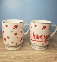 1988-1989 Geo. Z Lefton Heart Mugs with Pedestal 06632-07136 Valentines Day