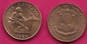 PHILIPPINES 1 CENTAVO 1963 UNC MALE SEATED BESIDE HAMMER AND ANVIL,SHIELD OF ARM