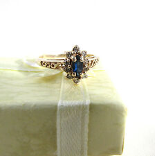 Vintage 14K Nicely Flanked .25 Sapphire & Diamond Lady's Ring Size 7 3/4