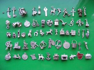 L) VINTAGE STERLING SILVER CHARMS CHARM ARIES KEYS 21 RINGS CLOG BIBLE HORSE CAB