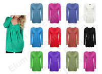 Womens Ladies Long Sleeve Bow Knot Front Ruched Flared Swing Tunic Tee Dress Top