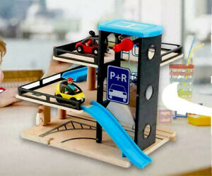 Kids wooden car garage carpark parking lot wooden toy with cars and helicopter