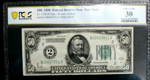 $50 1928  Federal Reserve Note NEWYORK  FR #2100-B PCGS 30 VERY FINE NUMERICAL