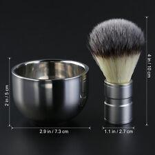 TINKSKY Badger Hair Shaving Brush Double Layer Shave Bowl Mug Stainless Steel