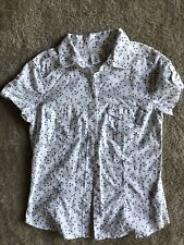 L.O.G.G Label of Graded Goods H&M Floral Button Down Short Sleeve Shirt SZ 8