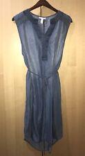 Liz Lange Maternity Sleeveless Soft Denim Tie Belt Lace Trim Dress Size XL New