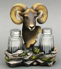 Resin Rocky Mountain Ram Figurine Glass Salt & Pepper Shakers Set Decor 6x6x2.5""