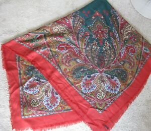 """GUCCI Wool Silk Paisley Large Shawl Stole Scarf Wrap Multicolor Italy 55"""" Sqaure"""