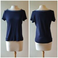 Ralph Lauren LRL Women's Size SMALL Navy-Blue Zipper Tee-Top 100% Cotton - Mint!