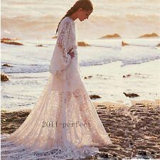 Boho Beach White Lace Wedding Dresses Butterfly Sleeve Bridal Gowns with Belt