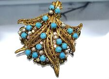 Vintage Turquoise glass and faux pearl Fern Brooch