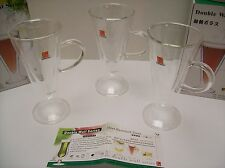 3 NEW Clear Heat Resistant Double Wall Glasses 160ml with Handle - NEW