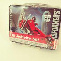 Transformers Activity Set Optimus Prime Latch Box Tin Activity Book Stickers