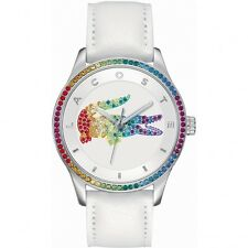 Lacoste VICTORIA RAINBOW Quartz 2000822 Leather WHITE SWAROVKI CRYSTALS Watch