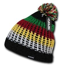 Black Rasta Jamaican Warm Woven Winter Sweater Ski Pom Pom Knit Beanie Cap Hat