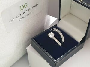 Silver channel set created diamond ring set free postage size T gift boxed