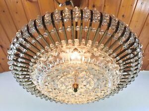 Austrian STEJNAR Crystal Chandelier Brass 60s MCM Pendant Ceiling Lamp SpaceAge