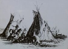 """Indian Tepees, Magic Lantern Glass Slide, (From 1838 Maximilian """"Travels"""")"""