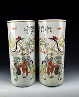 Pair of Chinese Antique Famille Rose Porcelain Vases w Longevity