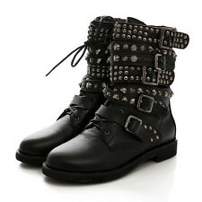Lady's Rock Roma Rivet Buckle Leather Punk Lace up Pull on Ankle Calf Boot 35-43