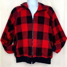 Vintage 80s Columbia Mens Fleece Zip Up Jacket Buffalo Plaid Outdoors Coat XL