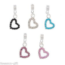10 Mixed Heart Dangle Beads Fit Charm Bracelet 31x14mm