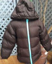 CHOCOLATE BROWN PUFFER COAT Fall Winter HOODED Jacket AQUA FLEECE Lining Girls 6
