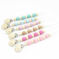 Baby Natural Wooden Painted Beads Teething Dummy Chain Pacifier Clips Soother