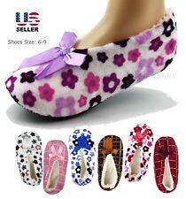 Womens Fuzzy Warm Soft Fleece Lined Non-Slip Grip Ballet Slippers Socks Shoes