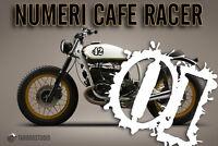 Numeri adesivi Cafe Racer Bobber Brat Tracker Scrabmler stickers moto pegatinas
